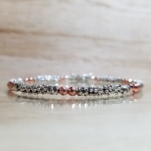 Beaded Two Tone Rose Gold Gemstone Bracelet